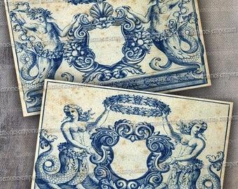 Mermaids Mermen Clip Art Digital Paper Printable Download Vintage Prints Postcard Size Engravings Shabby Chic Blue Antique Engravings 469