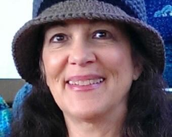 CROCHET PATTERN: Bucket Hat, Dark Grey Taupe Hat, Women's Bucket Hat, Crochet Hat Pattern, Winter Hat