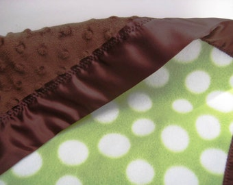 """Green Polka Dot with Brown Minky Blanket - Minky Soft Infant """"Lovey"""" Blanket that Can Be Personalized"""
