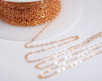 Rose gold chain, 14K rose gold filled flat cable chain for jewelry making, 1.5mm X 2mm links, 5 feet