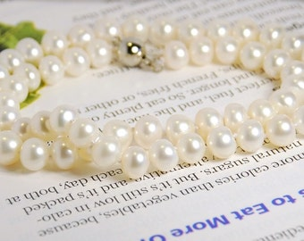 Genuine freshwater pearl necklace, 8-9mm button pearls, hand knotted, 18 inches long, grade AA-AAA, natural white color