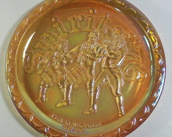 Indiana Carnival Glass Spirit of '76 American Bicentennial Plate Amber