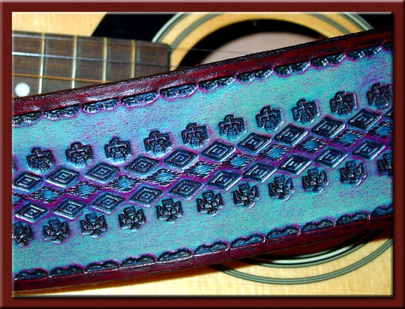 NATIVE AMERICAN THUNDERBIRD Design • A Beautifully Hand Tooled, Hand Crafted Leather Guitar Strap