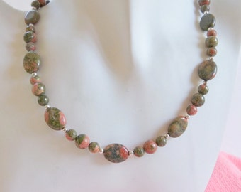 Unakite and Silver Beads Necklace