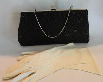 1950s Black Glitter Evening Clutch Bag with Bonus Gloves