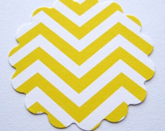 "25 Yellow 2"" scalloped round Tags journal gift party favor scrapbooking E1525"