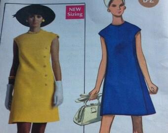 Vintage Pattern Butterick Size 12 Bust 34 No 5272 High Fitted Slightly A Line Dress Jewel Neckline 1967 Pattern Original Pattern