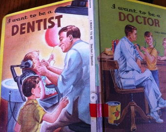 Sale Vintage 60s Children's Book I want to be a DOCTOR I want to be a DENTIST 2 Books in One Vintage Career Great Graphics