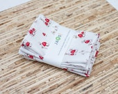 Small Cloth Napkins - Set of 4 - (N1355s) - Mushrooms Modern Reusable Fabric Napkins