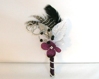 Eggplant Purple, Silver and Black Wedding Boutonniere or Corsage
