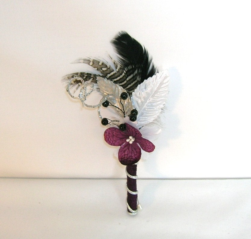Eggplant Purple Silver And Black Wedding Boutonniere Or