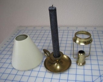 Vintage Brass Candleholder with Metal Shade