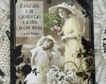 Mother's Day Mother and  Daughter Quote Decorative Plaque