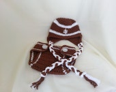 Crochet Football Earflap Hat & Diaper Cover-Beanie-Infant Photography Prop-Baby Football Beanie-Newborn Earflap Hat-Toddler Football Hat
