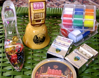 Take 20% Off Vintage RENO Slot Machine Salt n Pepper, Bell, Round Cards & Chip Collectibles