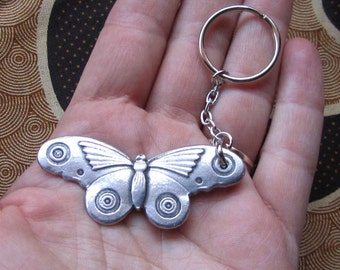 Butterfly Moth pewter Keyring / Keychain from an original design by Liza Paizis