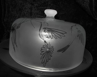 20% OFF Hand Etched Cake Plate and Dome with Gorgeous Hummingbirds, Flowers, and Filgree