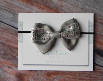 Baby Headband- Newborn Headband- Grey Sequin Bow on Skinny Black Elastic Headband