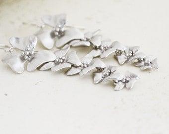 Cascading Silver Cherry Blossom Earrings on Argentium Sterling Silver Hoops, Silver Blossom Flower Earrings, Gift Under 25