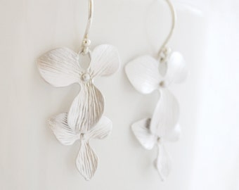 Mini Silver Orchid Flower Earrings, Argentium Sterling Silver French Hoops, Cascading Tropical Flower, Gift for Her, Gift Under 25
