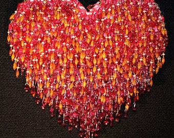 Beautiful Red, Wine, and soft Amber Beaded Heart Wall Art