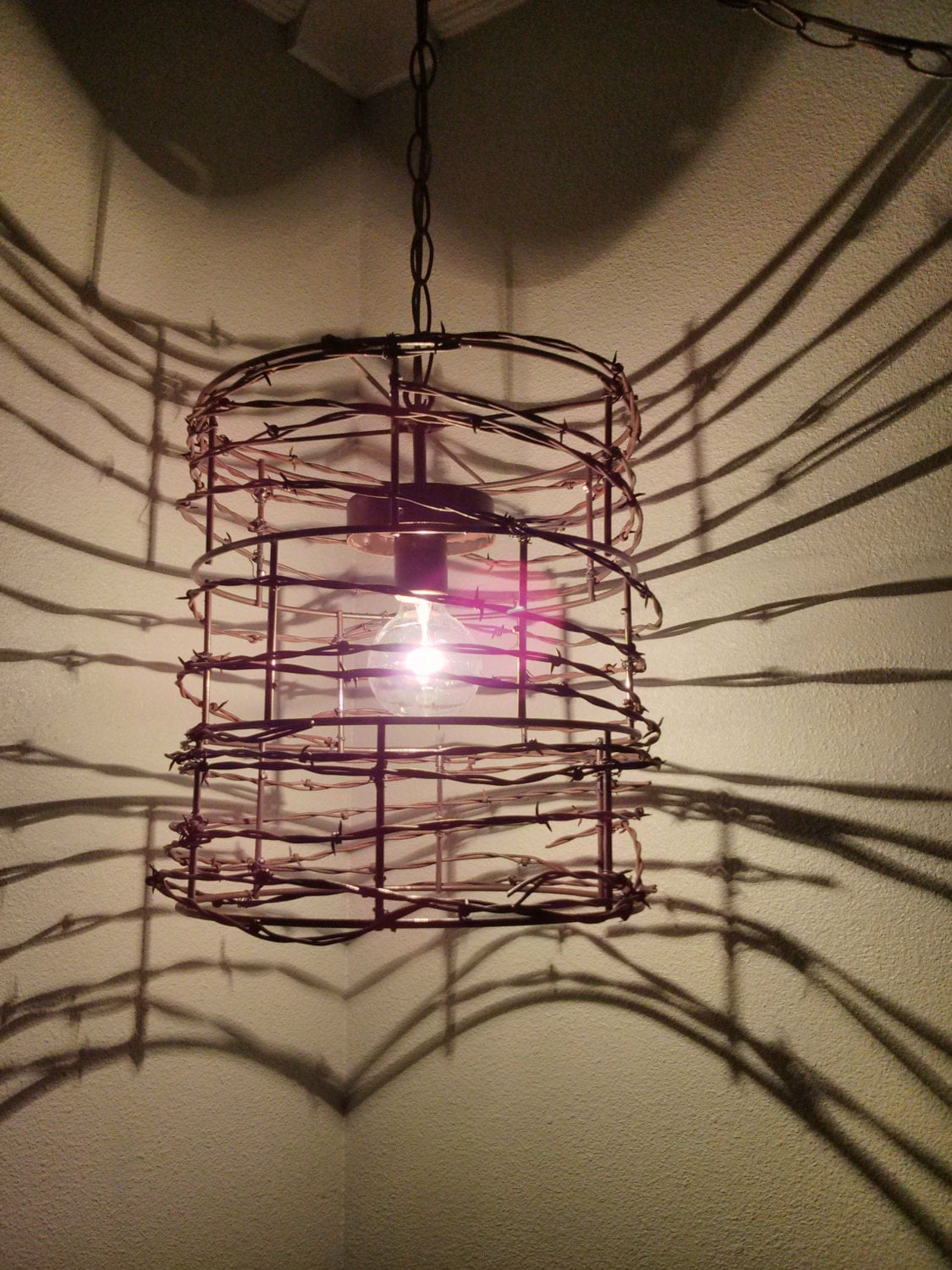 Custom hand made barbed wire lights - Making light fixtures ...