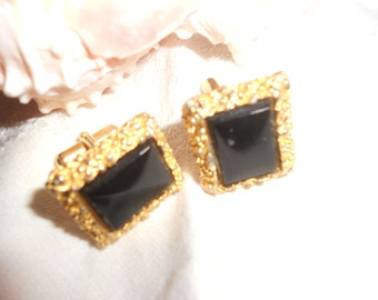 Onyx Cuff-Links Black Modernist/Brutalist Style Gold Tone Nugget & Stone MCM Vintage Ideal As Grooms's Wear Rare Form Eames Era