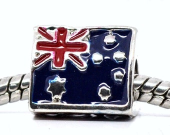 AUSTRALIA Flag European Bead Charm World Championship Olympics Bracelet, Collect all the Flag Beads for your Bracelet. SAVE  3 For 5.00