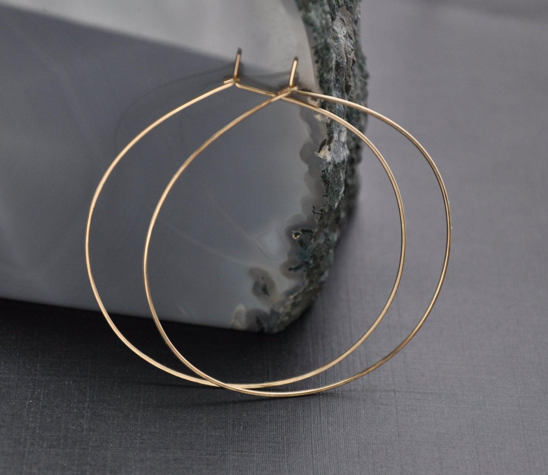 large gold filled hoop delicate hoop earrings by