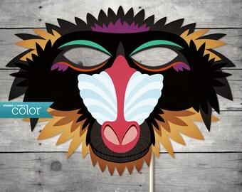 DIY Printable Baboon Monkey Mask - Mardi Gras, Birthdays, Masquerade Ball, Weddings, or Halloween