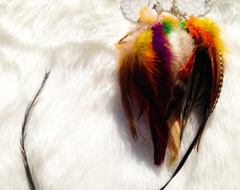 New Thoughts ~ Feather Earrings: Citrine Crystal - Grizzly/Yellow/Orange/Purple/Green Feathers