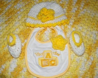 Baby Shower Gift Blanket Set for a New Born Baby Girl   Yellow Afghan Baby   Size Newwborn-4M
