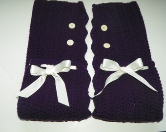 Leg Warmers Purple Over the Knee Leg Warmers with a Ivory Ribbon and Buttons  Hand Made One of a Kind