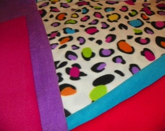 Cheetah Mullti Colors Fleece Baby  Receiving  Blanket Choose from one of the Colors for Backing  Choose frm Tied or Sewn