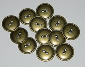 12 Brass Metal Buttons - 2 hole button 3/4 inch - new vintage stock