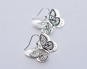 Butterfly Earrings Silver Plated Summer Wedding Bride Bridesmaid Nature Dangle Simple