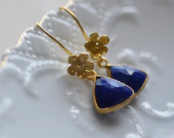 Bridal Earrings Flowers Delicate Gold Vermeil Weddings Brides Bridesmaids Graduation Prom  Black Tie Blue Lapis Lazuli