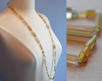 Yellow Orange Blue Necklace Big Top Circus Stripes Bright Colourful Glass Bead Necklace Made in Canada Fun Cheerful Stripe
