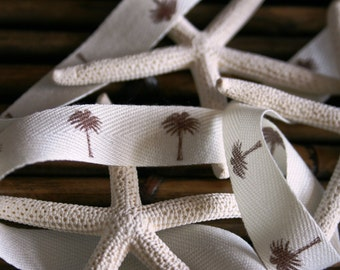 Midori Palm Tree Herringbone Ribbon Trim  - by the yard - 5/8 inch width Midori - Bridal Millinery Home Decor - DIY Wedding Favor Bag or Tag