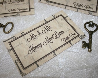 Vintage Key Theme Bookmark Place or Escort Card by banelsonart