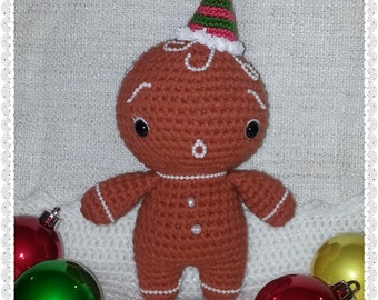 Little Yummy Gingerbread Man Doll crochet pattern PDF Christmas New Year gift