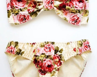 English Garden Floral Print Bow Bandeau Set