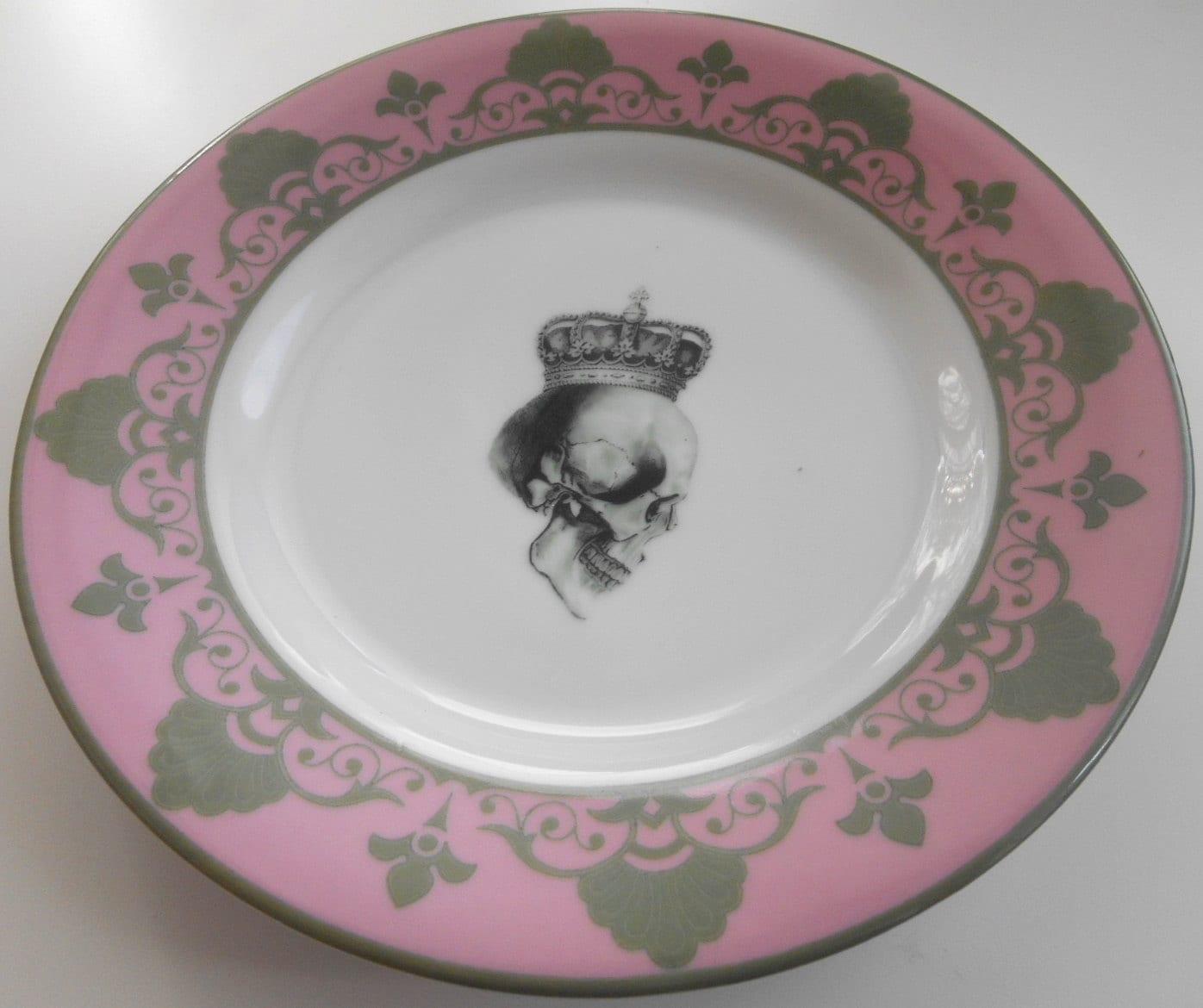 ... goth wedding ste&unk wedding Thanksgiving plates thanksgiving dishes dish skull dinnerware entomology dinnerware insect plates insect dishes  sc 1 st  WTF Porcelain & 4-piece Pink /Gray Skull Dinnerware Set - very