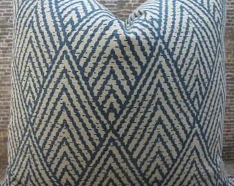 Designer Pillow Cover - Lumbar, 16 x 16, 18 x 18, 20 x 20, 22 x 22 - Tahitian Stitch Sapphire