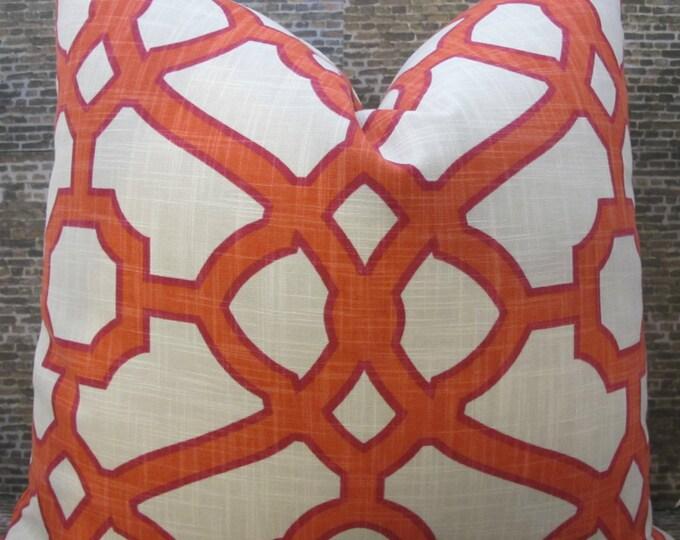 Designer Pillow Cover -  Lumbar, 16 x 16, 18 x 18, 20 x 20 - Contempo Fretwork Papaya