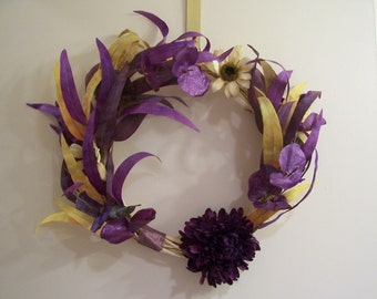 Purple and Yellow Willow Wreath with Faux Leaves and Flowers - FREE SHIPPING!