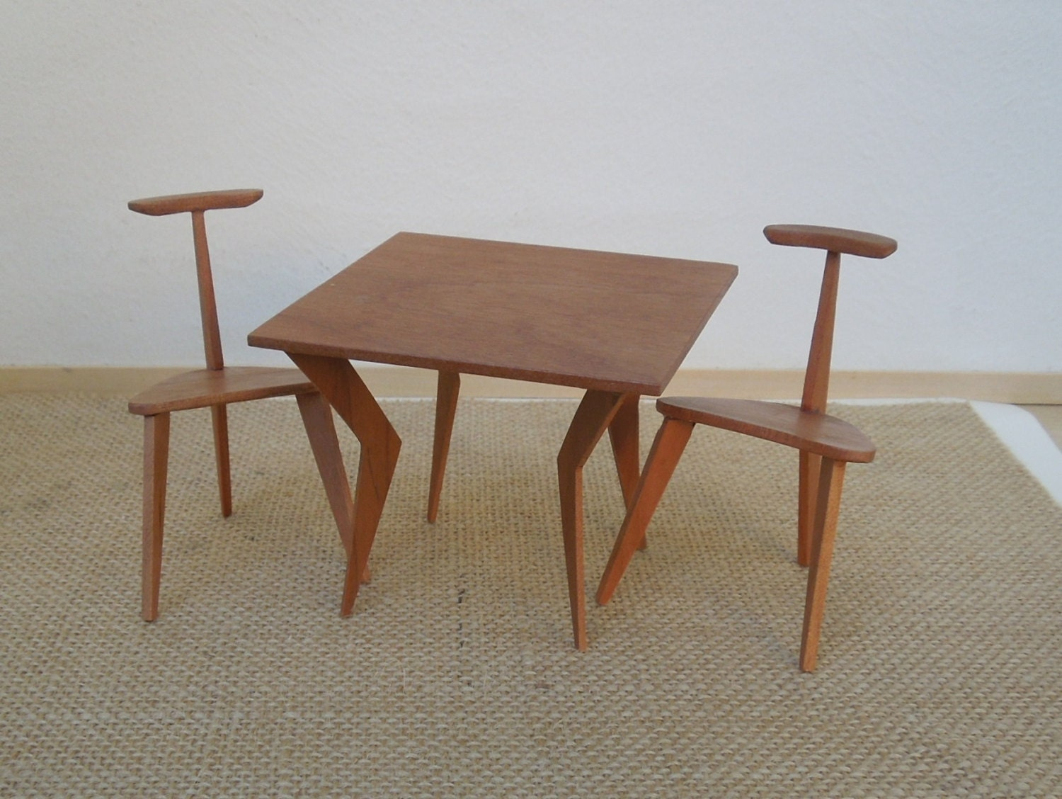 Mid entury modern miniature game table and two chairs in for Contemporary game table and chairs