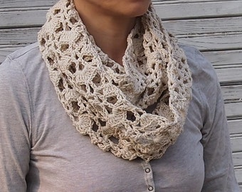Infinity scarf crochet pattern woman circle scarf lace loop scarf neckewarmer  DIY tutorial Instant download