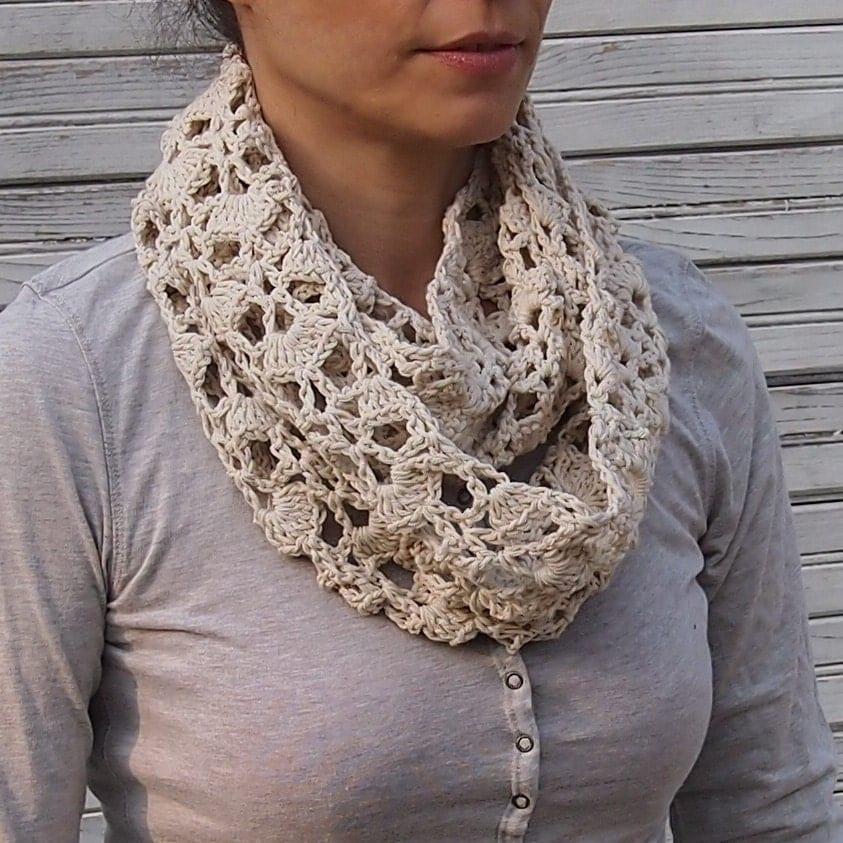 Crochet Infinity Scarf Free Tutorial : Infinity scarf crochet pattern woman circle scarf lace loop