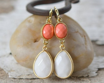 Large White Teardrop and Coral Jewel Earrings in Gold.  Bridesmaid Drop Earrings. Dangle Earrings. Christmas Gift. Jewelry Gift for Her.